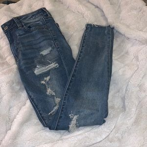 American Eagle ripped denim skinny jeans size 0